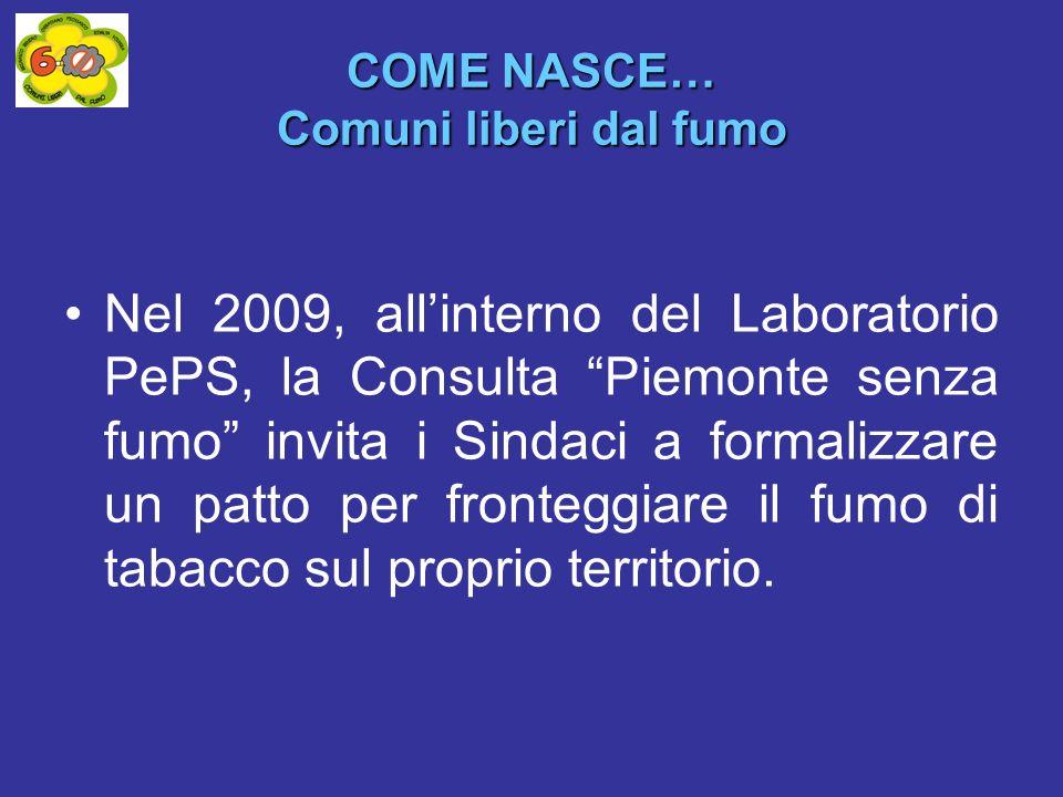 COME NASCE… Comuni liberi dal fumo Nel 2009, allinterno del Laboratorio PePS, la Consulta Piemonte senza fumo invita i Sindaci a formalizzare un patto per fronteggiare il fumo di tabacco sul proprio territorio.