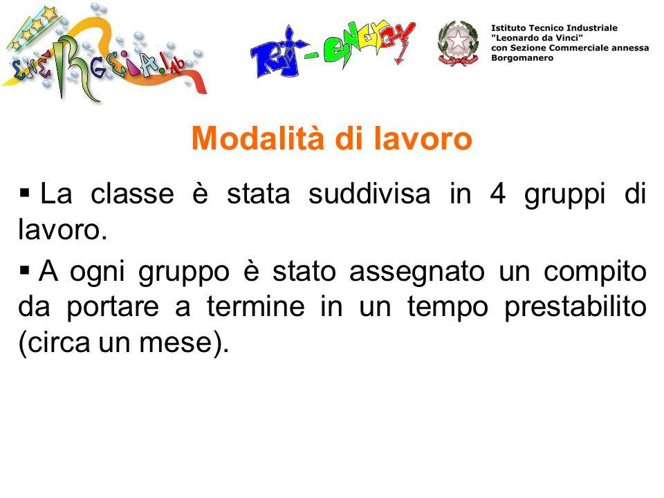 La classe è stata suddivisa in 4 gruppi di lavoro. A ogni gruppo è stato assegnato un compito da portare a termine in un tempo prestabilito (circa un