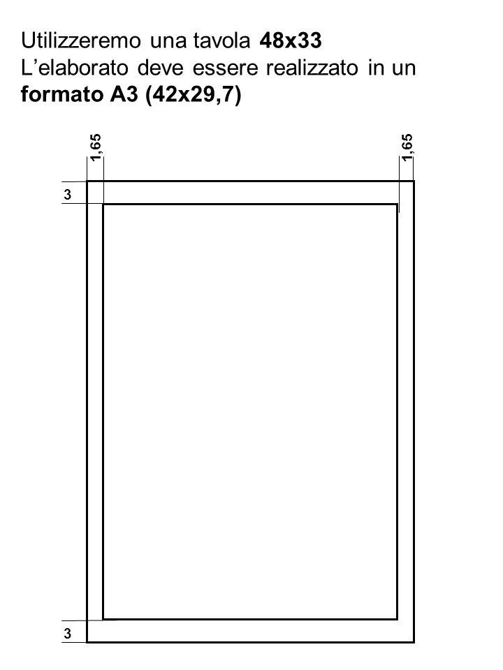 3 1,65 Utilizzeremo una tavola 48x33 Lelaborato deve essere realizzato in un formato A3 (42x29,7) 1,65 3