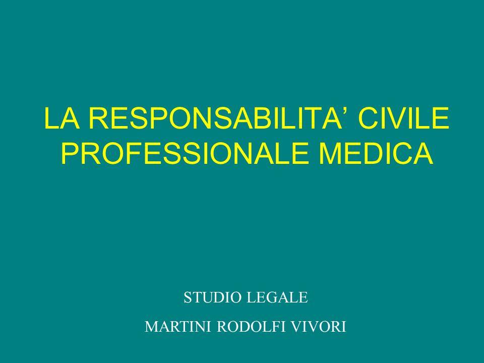 Attività medica: Responsabilità penale Responsabilità civile Responsabilità disciplinare STUDIO LEGALE MARTINI RODOLFI VIVORI