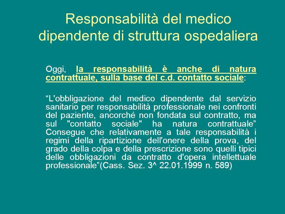 Oggi, la responsabilità è anche di natura contrattuale, sulla base del c.d. contatto sociale: L'obbligazione del medico dipendente dal servizio sanita