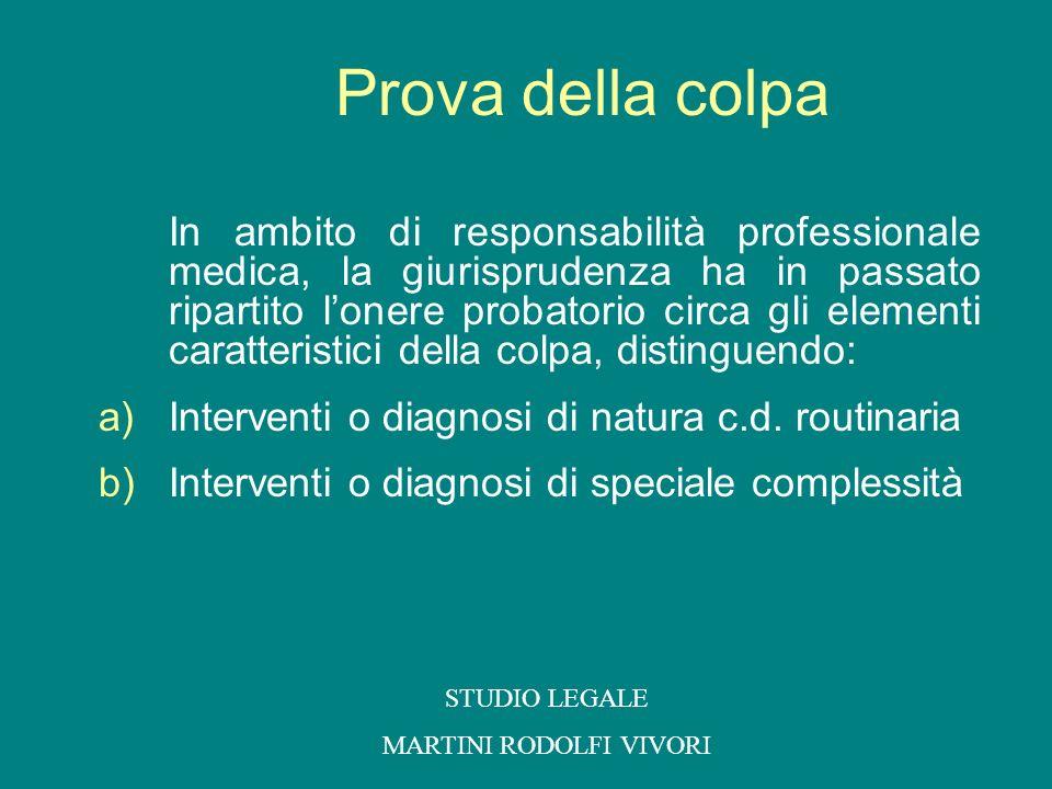 a) Interventi o diagnosi di natura c.d.routinaria Responsabilità presunta del professionista.