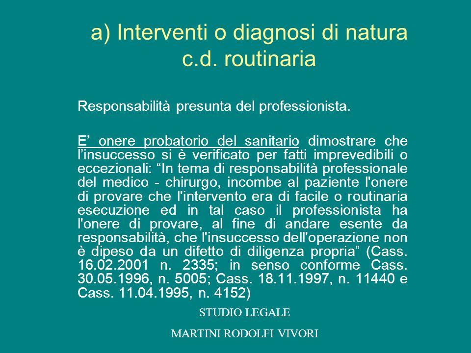 a) Interventi o diagnosi di natura c.d. routinaria Responsabilità presunta del professionista. E onere probatorio del sanitario dimostrare che linsucc