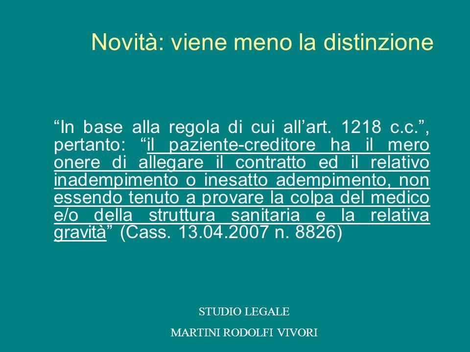 In base alla regola di cui allart. 1218 c.c., pertanto: il paziente-creditore ha il mero onere di allegare il contratto ed il relativo inadempimento o