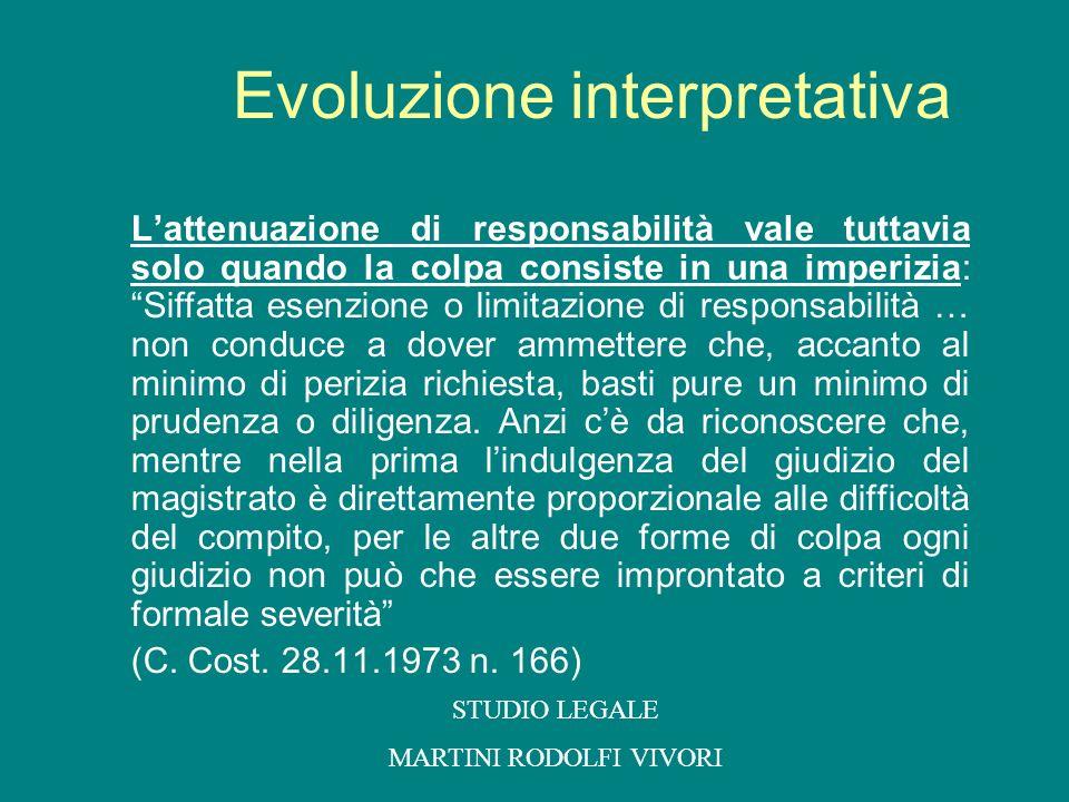 Evoluzione interpretativa Lattenuazione di responsabilità vale tuttavia solo quando la colpa consiste in una imperizia: Siffatta esenzione o limitazio