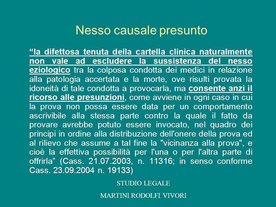 la difettosa tenuta della cartella clinica naturalmente non vale ad escludere la sussistenza del nesso eziologico tra la colposa condotta dei medici i