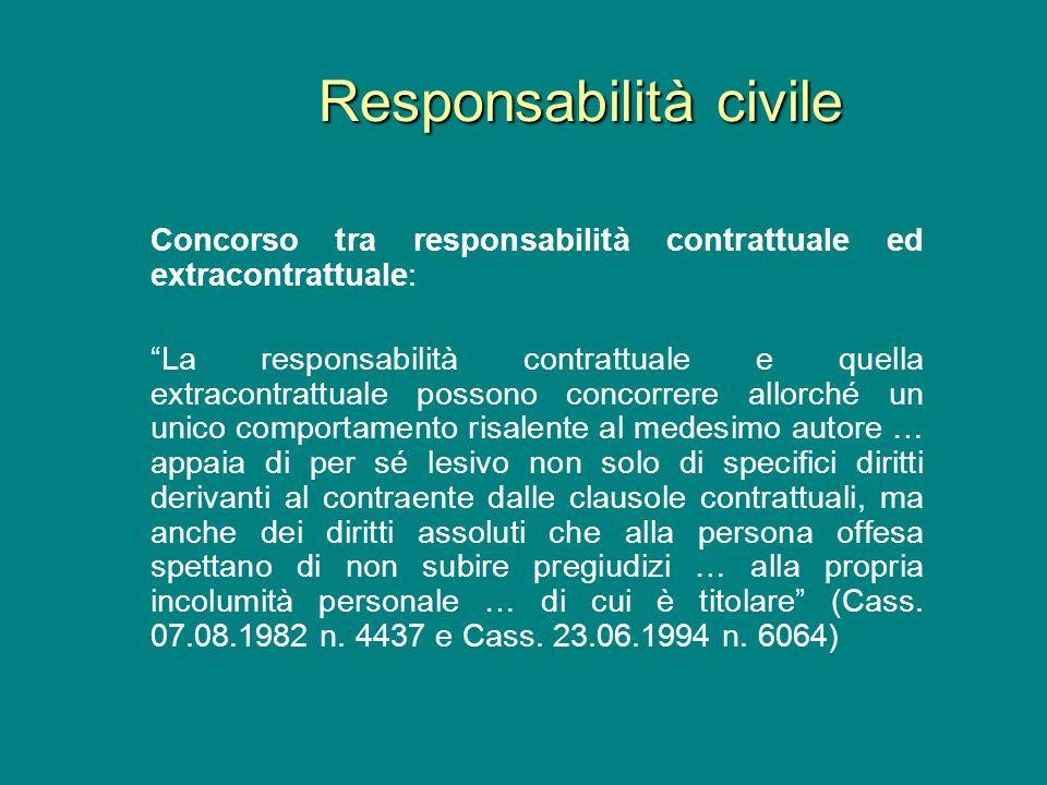 Concorso tra responsabilità contrattuale ed extracontrattuale: La responsabilità contrattuale e quella extracontrattuale possono concorrere allorché u