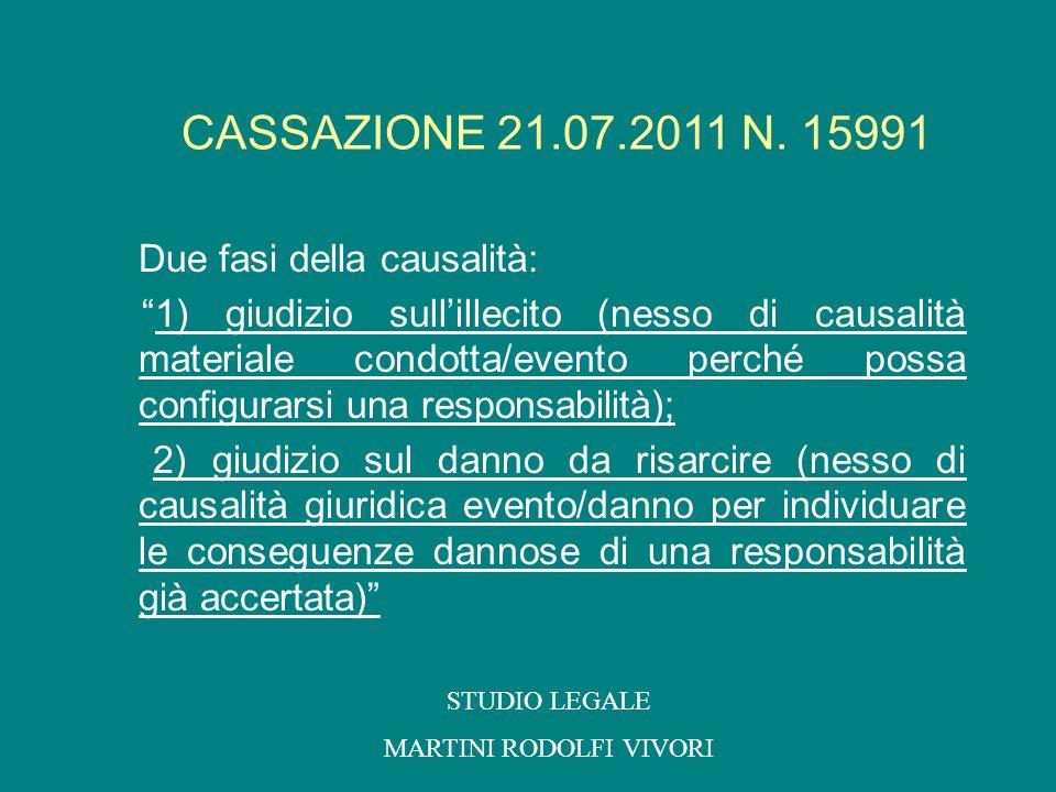 Due fasi della causalità: 1) giudizio sullillecito (nesso di causalità materiale condotta/evento perché possa configurarsi una responsabilità); 2) giu