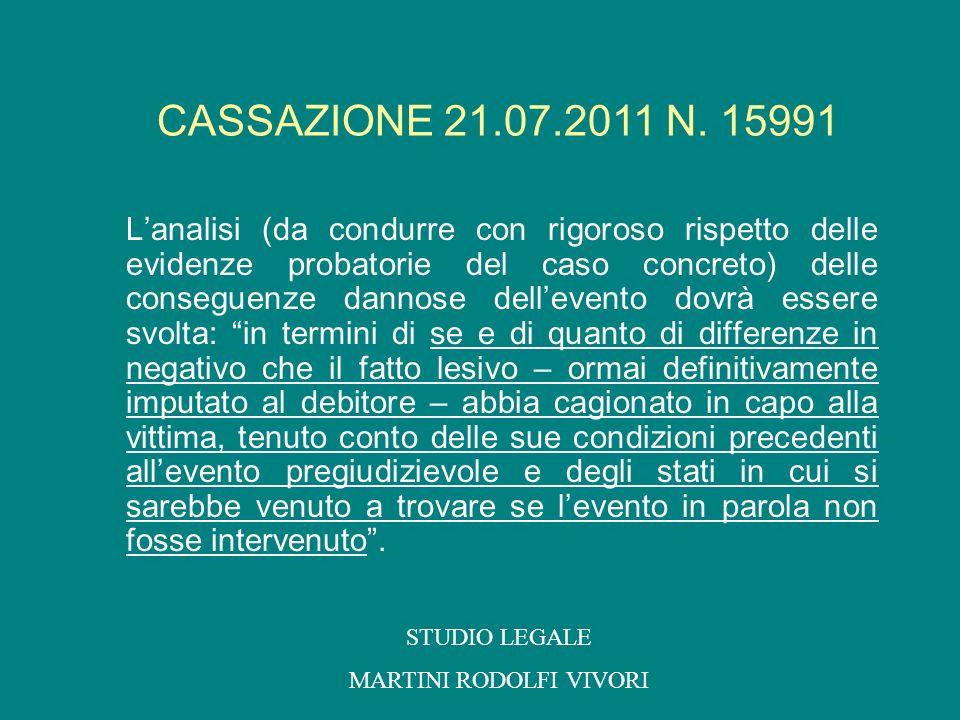 Lanalisi (da condurre con rigoroso rispetto delle evidenze probatorie del caso concreto) delle conseguenze dannose dellevento dovrà essere svolta: in