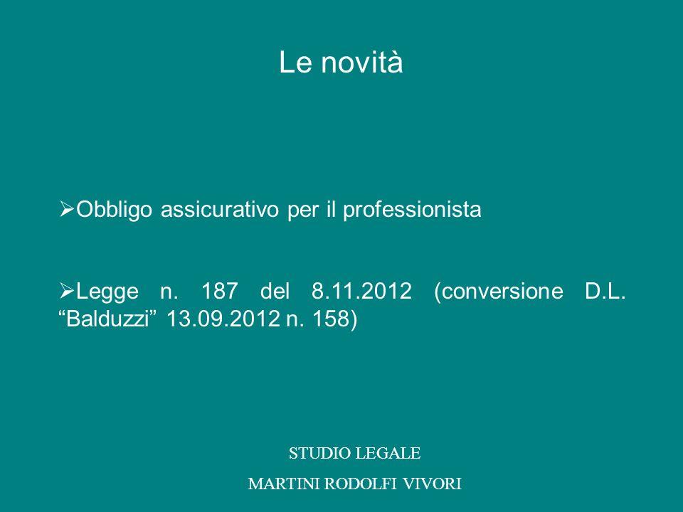 Obbligo assicurativo per il professionista Legge n. 187 del 8.11.2012 (conversione D.L. Balduzzi 13.09.2012 n. 158) STUDIO LEGALE MARTINI RODOLFI VIVO