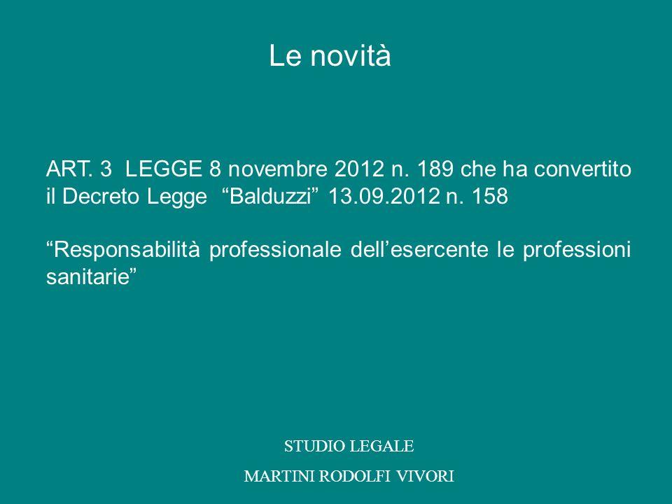 ART. 3 LEGGE 8 novembre 2012 n. 189 che ha convertito il Decreto Legge Balduzzi 13.09.2012 n. 158 Responsabilità professionale dellesercente le profes