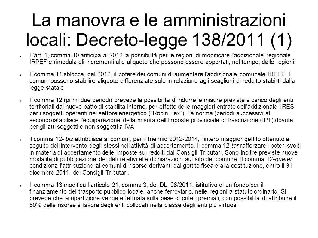 La manovra e le amministrazioni locali: Decreto-legge 138/2011 (1) L'art. 1, comma 10 anticipa al 2012 la possibilità per le regioni di modificare lad
