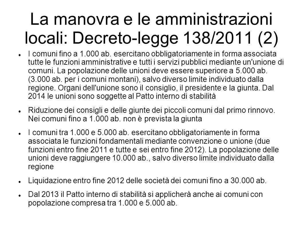 La manovra e le amministrazioni locali: Decreto-legge 138/2011 (2) I comuni fino a 1.000 ab. esercitano obbligatoriamente in forma associata tutte le