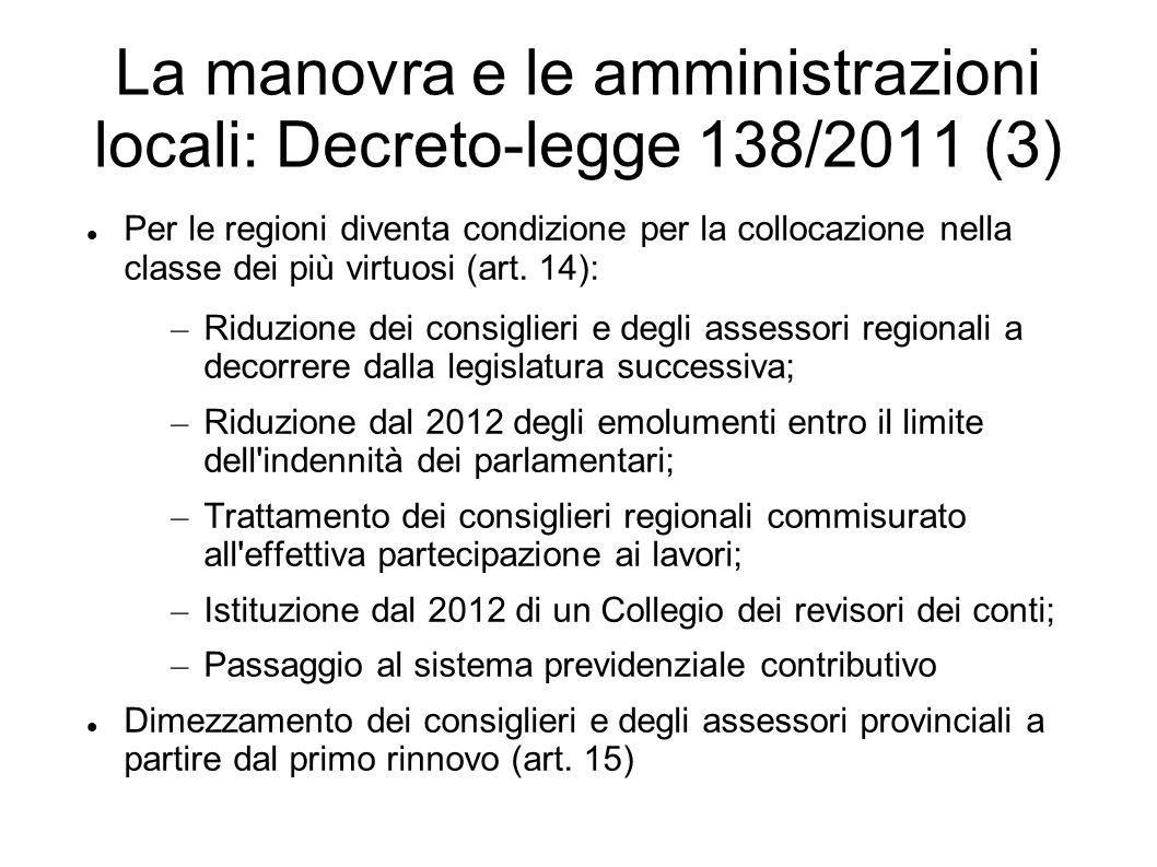 La manovra e le amministrazioni locali: Decreto-legge 138/2011 (3) Per le regioni diventa condizione per la collocazione nella classe dei più virtuosi
