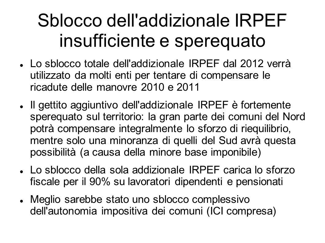 Sblocco dell addizionale IRPEF insufficiente e sperequato Lo sblocco totale dell addizionale IRPEF dal 2012 verrà utilizzato da molti enti per tentare di compensare le ricadute delle manovre 2010 e 2011 Il gettito aggiuntivo dell addizionale IRPEF è fortemente sperequato sul territorio: la gran parte dei comuni del Nord potrà compensare integralmente lo sforzo di riequilibrio, mentre solo una minoranza di quelli del Sud avrà questa possibilità (a causa della minore base imponibile) Lo sblocco della sola addizionale IRPEF carica lo sforzo fiscale per il 90% su lavoratori dipendenti e pensionati Meglio sarebbe stato uno sblocco complessivo dell autonomia impositiva dei comuni (ICI compresa)