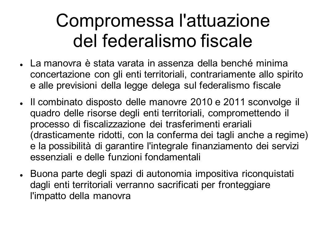 Compromessa l'attuazione del federalismo fiscale La manovra è stata varata in assenza della benché minima concertazione con gli enti territoriali, con