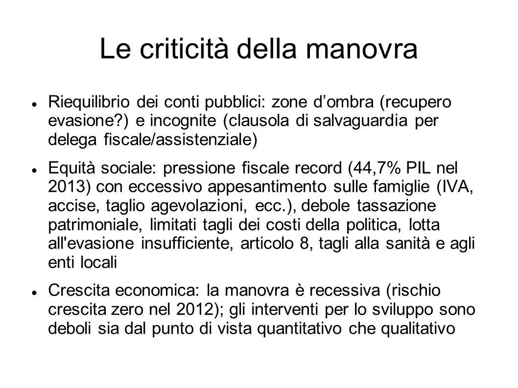 Le criticità della manovra Riequilibrio dei conti pubblici: zone dombra (recupero evasione?) e incognite (clausola di salvaguardia per delega fiscale/