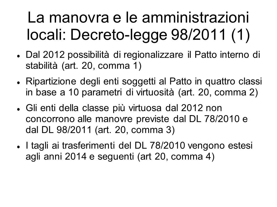 La manovra e le amministrazioni locali: Decreto-legge 98/2011 (1) Dal 2012 possibilità di regionalizzare il Patto interno di stabilità (art. 20, comma