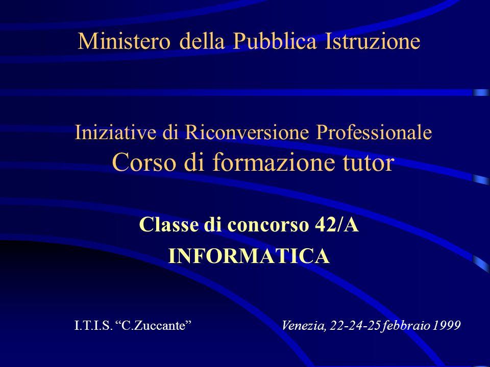 Ministero della Pubblica Istruzione Classe di concorso 42/A INFORMATICA I.T.I.S. C.Zuccante Iniziative di Riconversione Professionale Corso di formazi