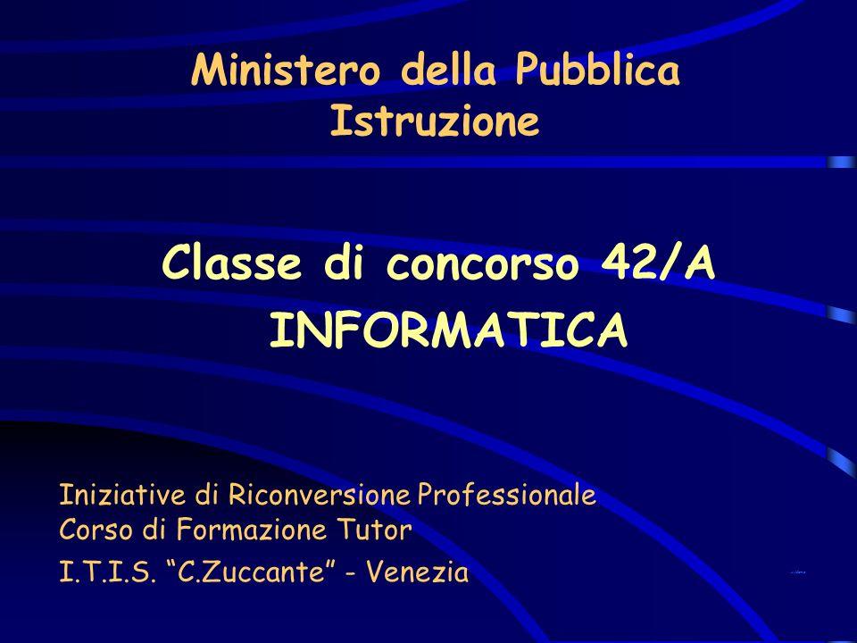 Ministero della Pubblica Istruzione Classe di concorso 42/A INFORMATICA I.T.I.S. C.Zuccante - Venezia Iniziative di Riconversione Professionale Corso