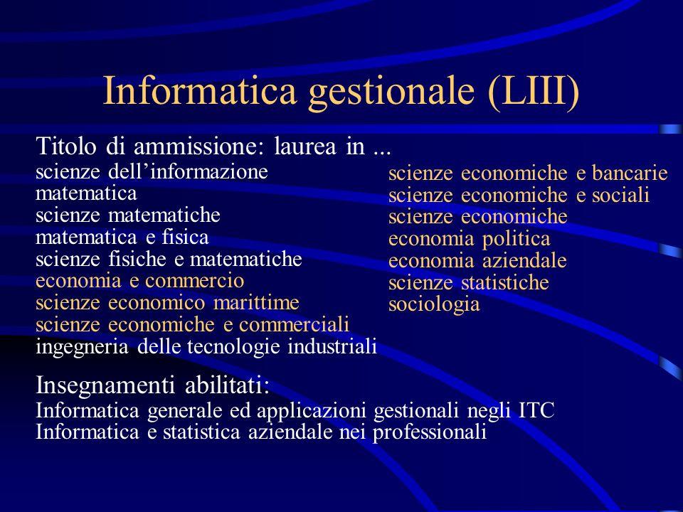 Informatica industriale (LIV) Titolo di ammissione: laurea in...