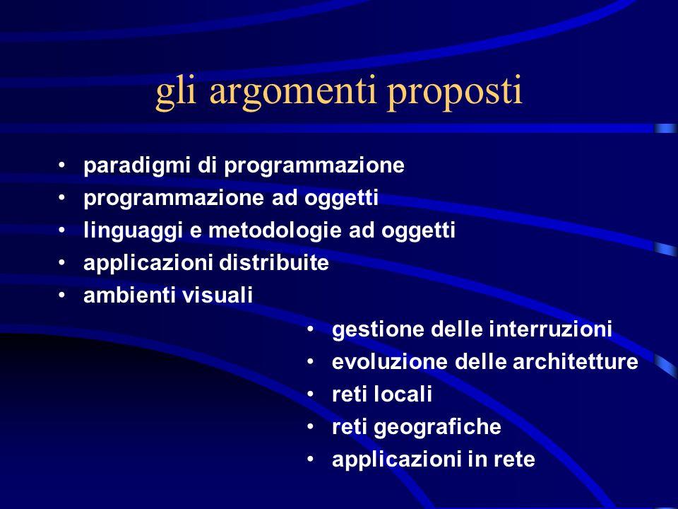 gli argomenti proposti paradigmi di programmazione programmazione ad oggetti linguaggi e metodologie ad oggetti applicazioni distribuite ambienti visu