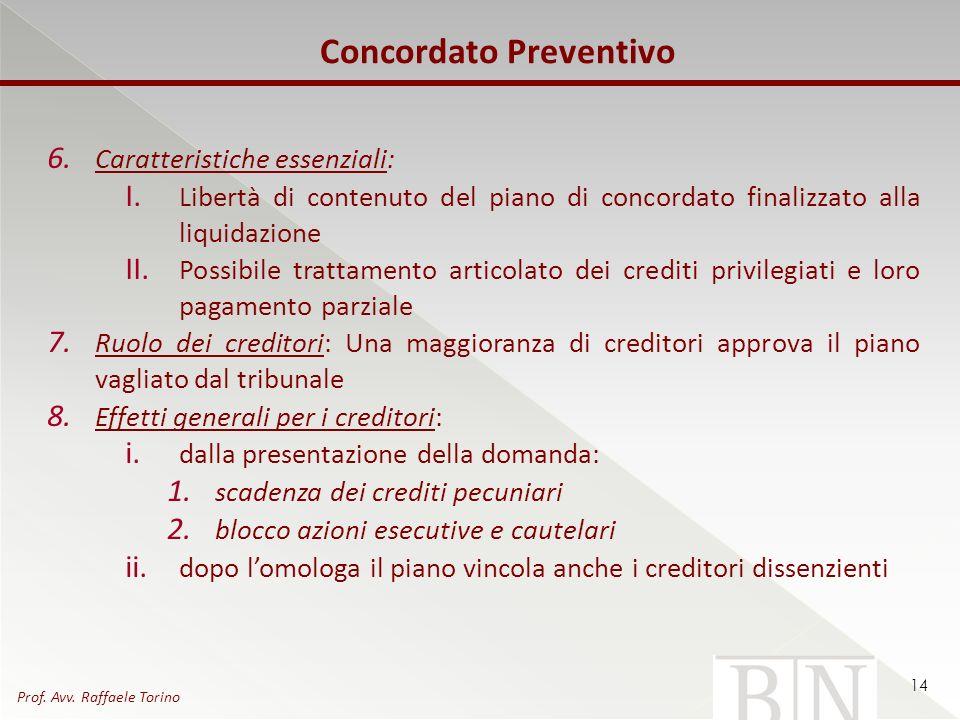 Concordato Preventivo 6. Caratteristiche essenziali: I. Libertà di contenuto del piano di concordato finalizzato alla liquidazione II. Possibile tratt