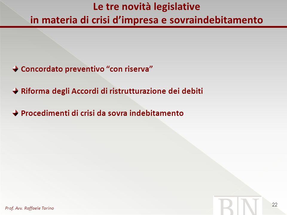 Le tre novità legislative in materia di crisi dimpresa e sovraindebitamento Concordato preventivo con riserva Riforma degli Accordi di ristrutturazion