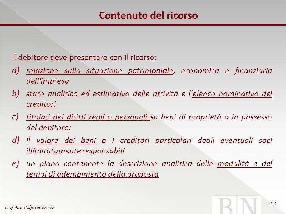Contenuto del ricorso Il debitore deve presentare con il ricorso: a) relazione sulla situazione patrimoniale, economica e finanziaria dell'impresa b)