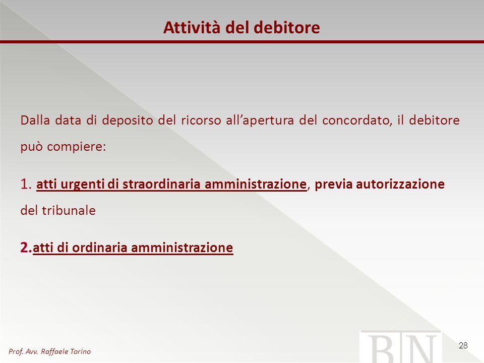 Dalla data di deposito del ricorso allapertura del concordato, il debitore può compiere: 1. atti urgenti di straordinaria amministrazione, previa auto