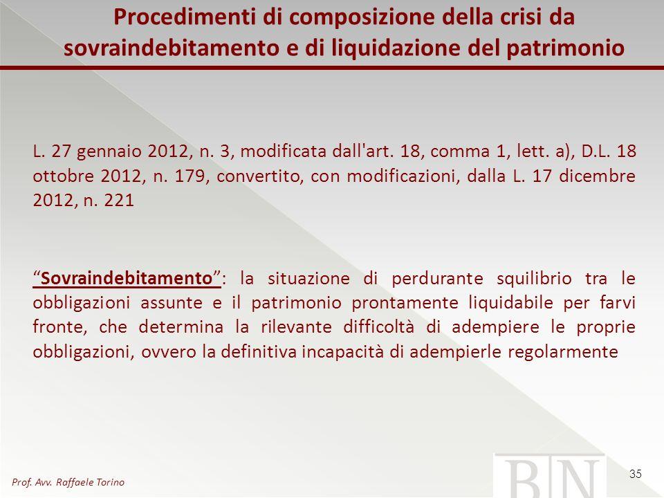 Procedimenti di composizione della crisi da sovraindebitamento e di liquidazione del patrimonio L. 27 gennaio 2012, n. 3, modificata dall'art. 18, com