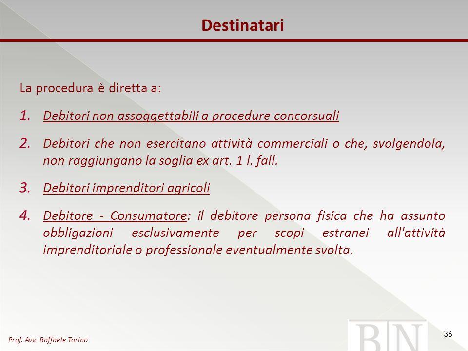 Destinatari La procedura è diretta a: 1. Debitori non assoggettabili a procedure concorsuali 2. Debitori che non esercitano attività commerciali o che