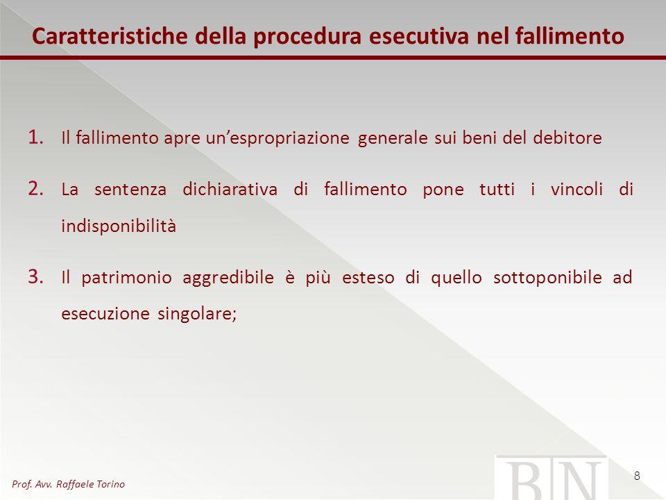 Caratteristiche della procedura esecutiva nel fallimento 1. Il fallimento apre unespropriazione generale sui beni del debitore 2. La sentenza dichiara