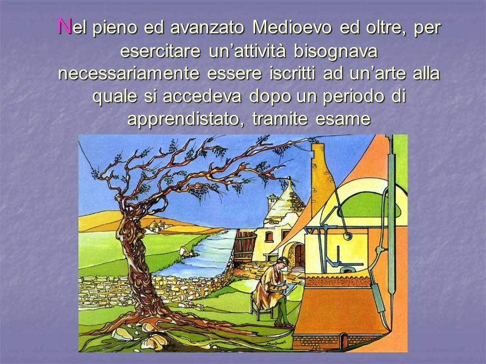 N el pieno ed avanzato Medioevo ed oltre, per esercitare unattività bisognava necessariamente essere iscritti ad unarte alla quale si accedeva dopo un