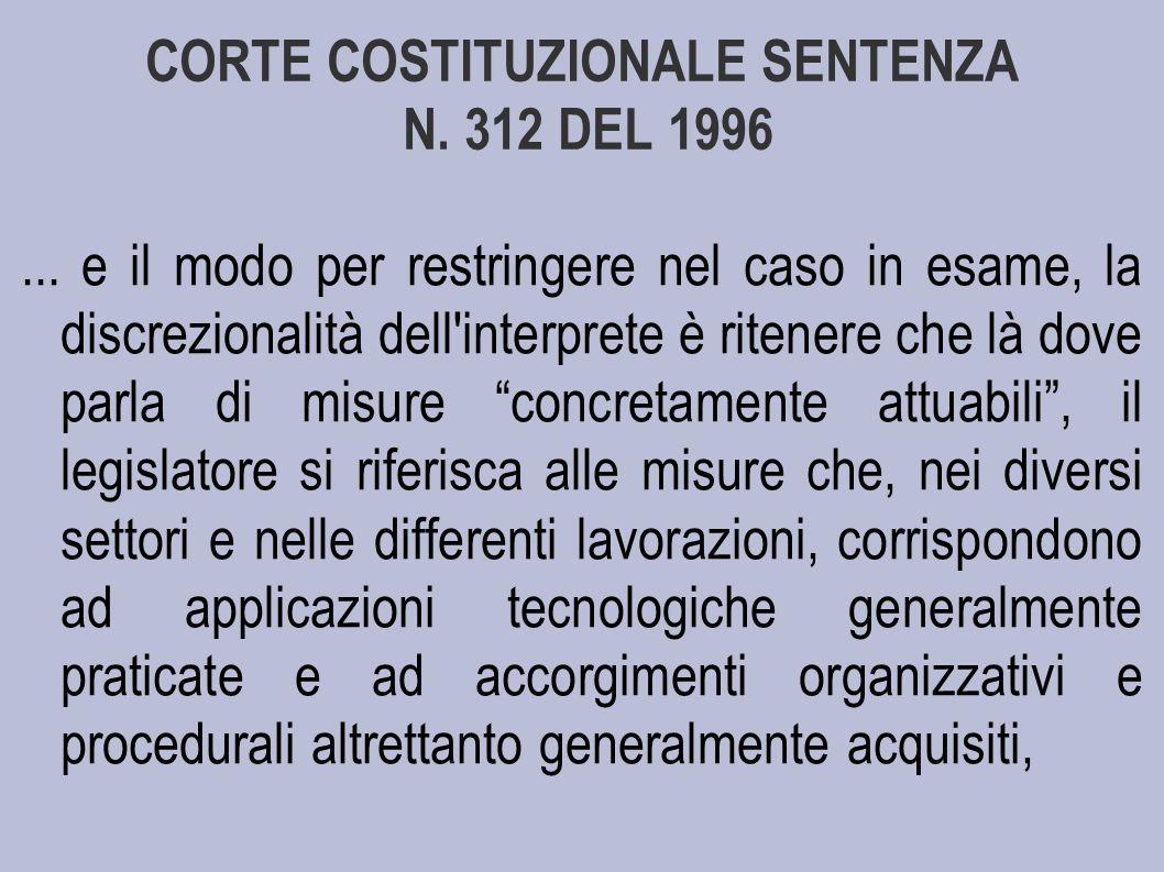 CORTE COSTITUZIONALE SENTENZA N.312 DEL 1996...