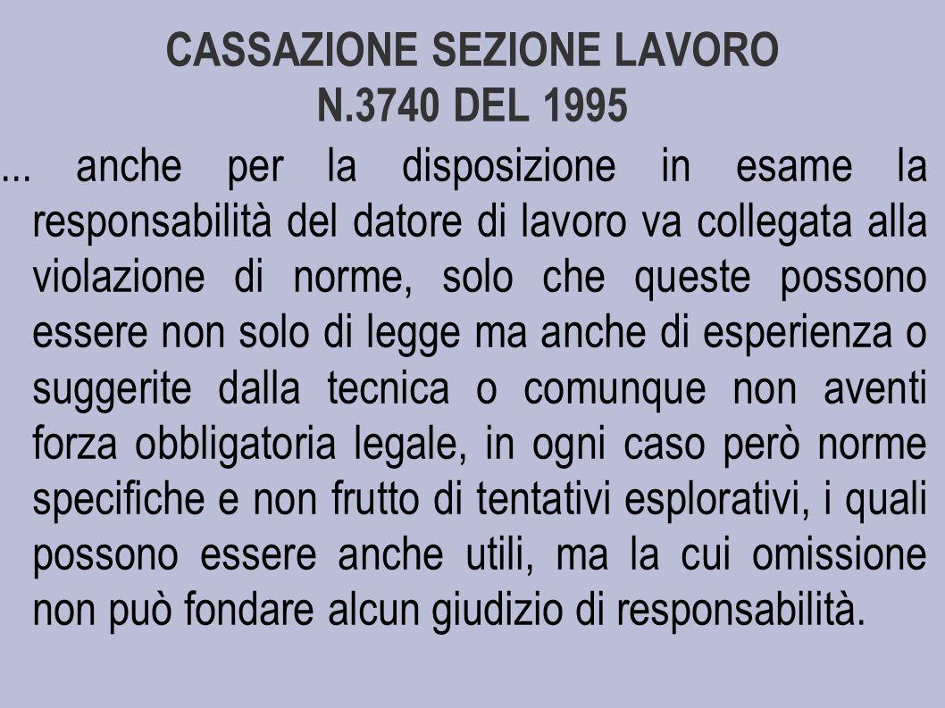 CASSAZIONE SEZIONE LAVORO N.3740 DEL 1995...