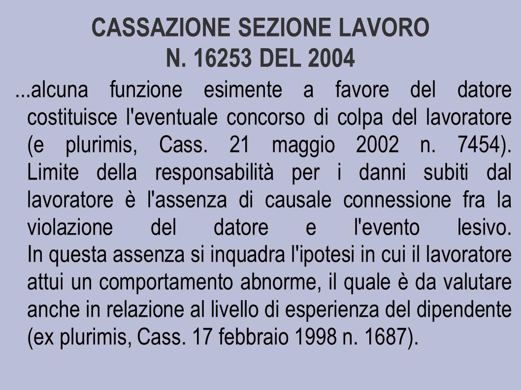 CASSAZIONE SEZIONE LAVORO N.