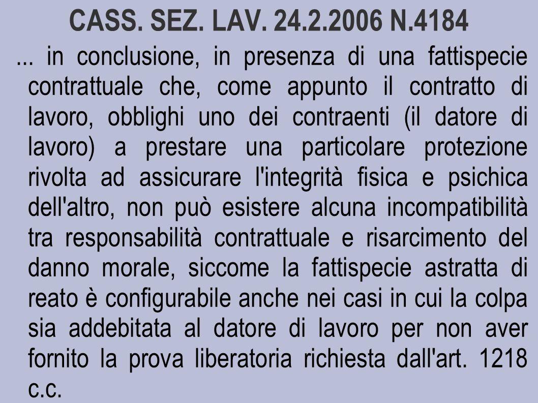 CASS.SEZ. LAV. 24.2.2006 N.4184...
