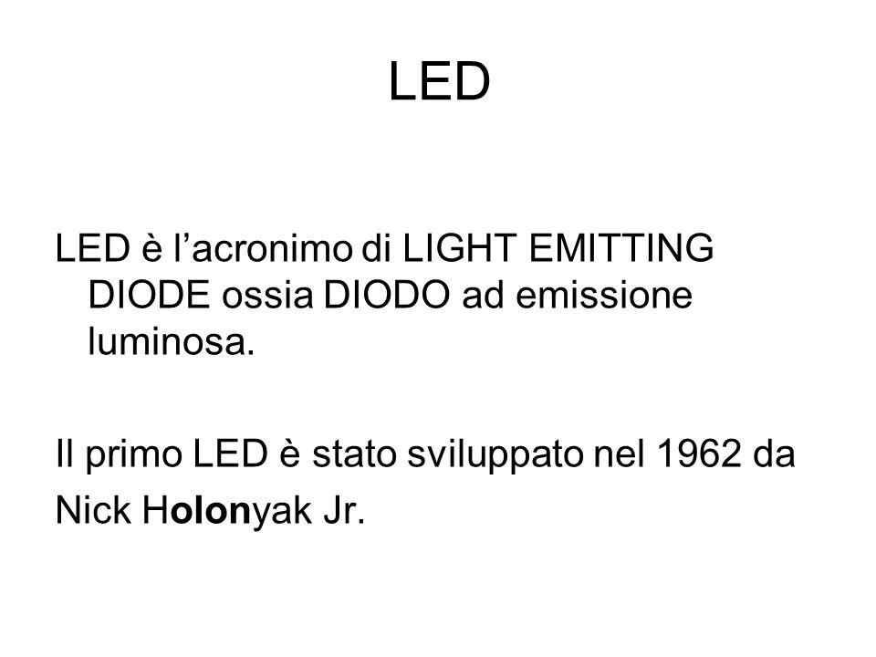 LED LED è lacronimo di LIGHT EMITTING DIODE ossia DIODO ad emissione luminosa. Il primo LED è stato sviluppato nel 1962 da Nick Holonyak Jr.