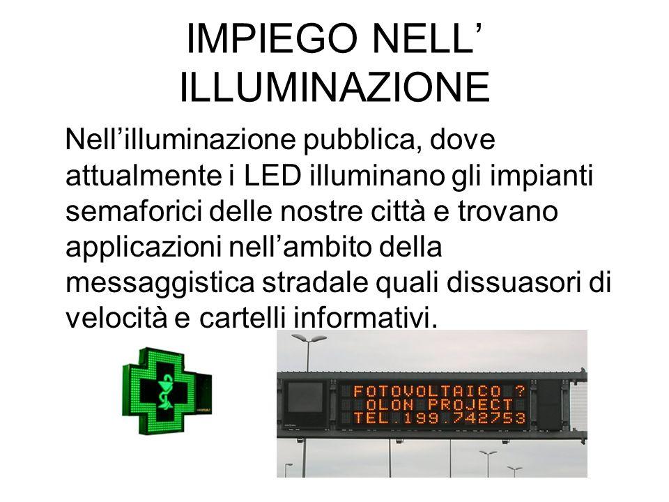 IMPIEGO NELL ILLUMINAZIONE Nellilluminazione pubblica, dove attualmente i LED illuminano gli impianti semaforici delle nostre città e trovano applicaz