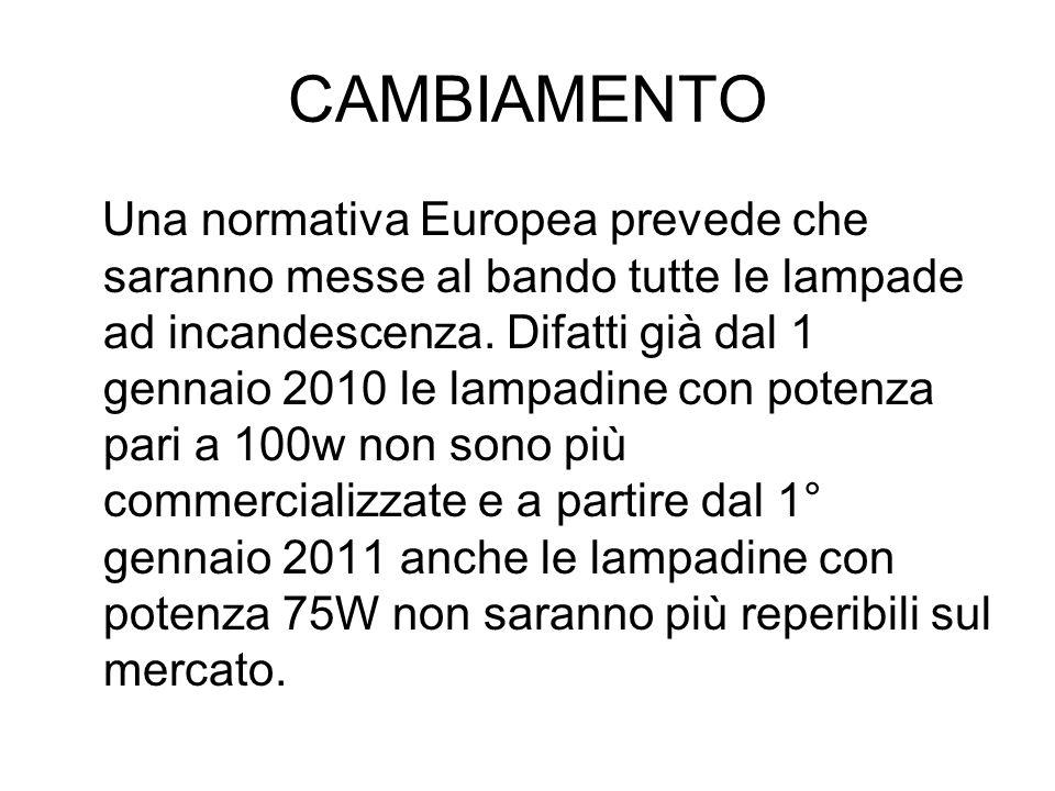 CAMBIAMENTO Una normativa Europea prevede che saranno messe al bando tutte le lampade ad incandescenza. Difatti già dal 1 gennaio 2010 le lampadine co