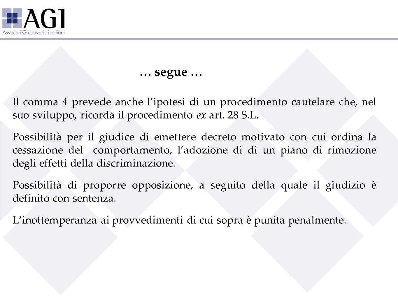 … segue … Il comma 4 prevede anche lipotesi di un procedimento cautelare che, nel suo sviluppo, ricorda il procedimento ex art. 28 S.L. Possibilità pe