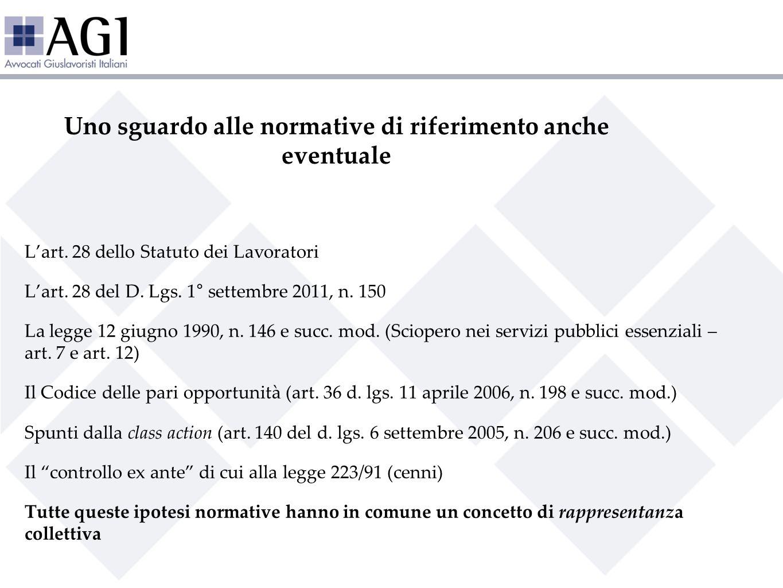 Uno sguardo alle normative di riferimento anche eventuale Lart. 28 dello Statuto dei Lavoratori Lart. 28 del D. Lgs. 1° settembre 2011, n. 150 La legg