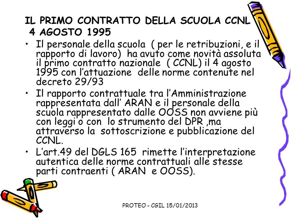 PROTEO - CGIL 15/01/2013 IL PRIMO CONTRATTO DELLA SCUOLA CCNL 4 AGOSTO 1995 Il personale della scuola ( per le retribuzioni, e il rapporto di lavoro)