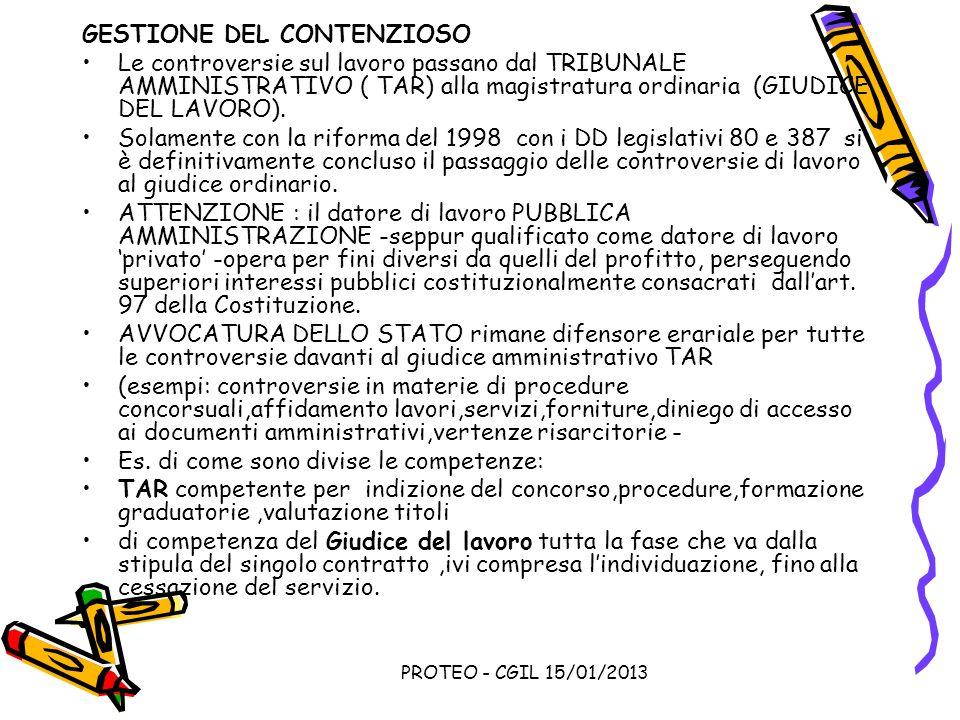 PROTEO - CGIL 15/01/2013 GESTIONE DEL CONTENZIOSO Le controversie sul lavoro passano dal TRIBUNALE AMMINISTRATIVO ( TAR) alla magistratura ordinaria (