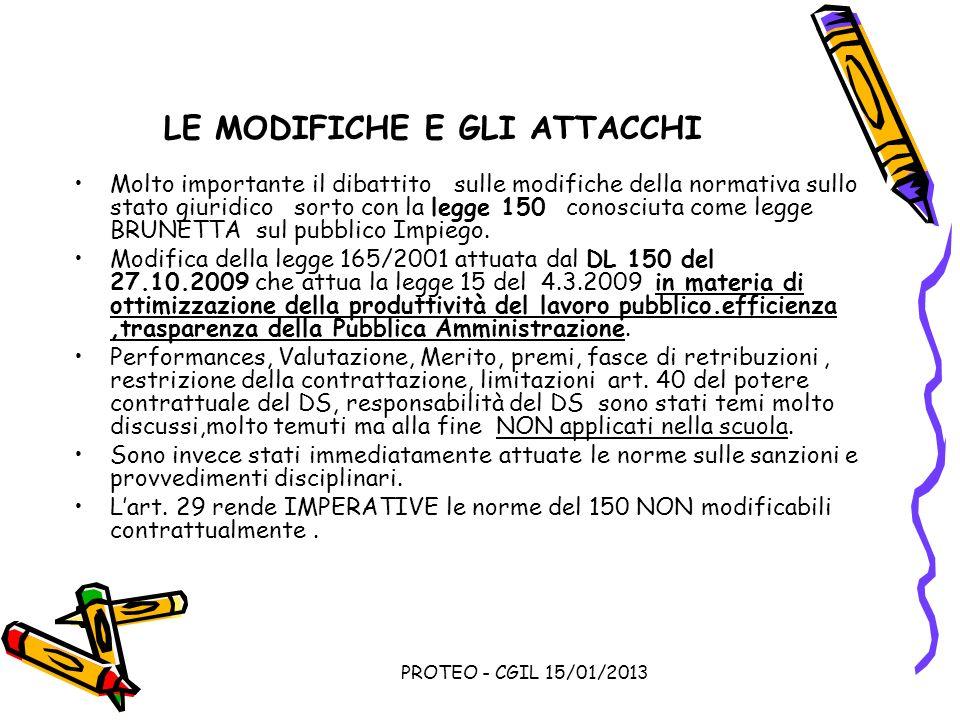 PROTEO - CGIL 15/01/2013 LE MODIFICHE E GLI ATTACCHI Molto importante il dibattito sulle modifiche della normativa sullo stato giuridico sorto con la