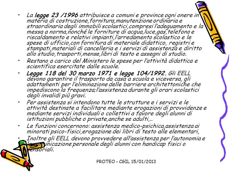 PROTEO - CGIL 15/01/2013 La legge 23 /1996 attribuisce a comuni e province ogni onere in materia di costruzione,fornitura,manutenzione ordinaria e str