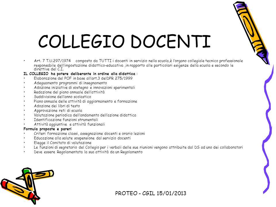 PROTEO - CGIL 15/01/2013 COLLEGIO DOCENTI Art. 7 T.U.297/1974 composto da TUTTI i docenti in servizio nella scuola,è lorgano collegiale tecnico profes