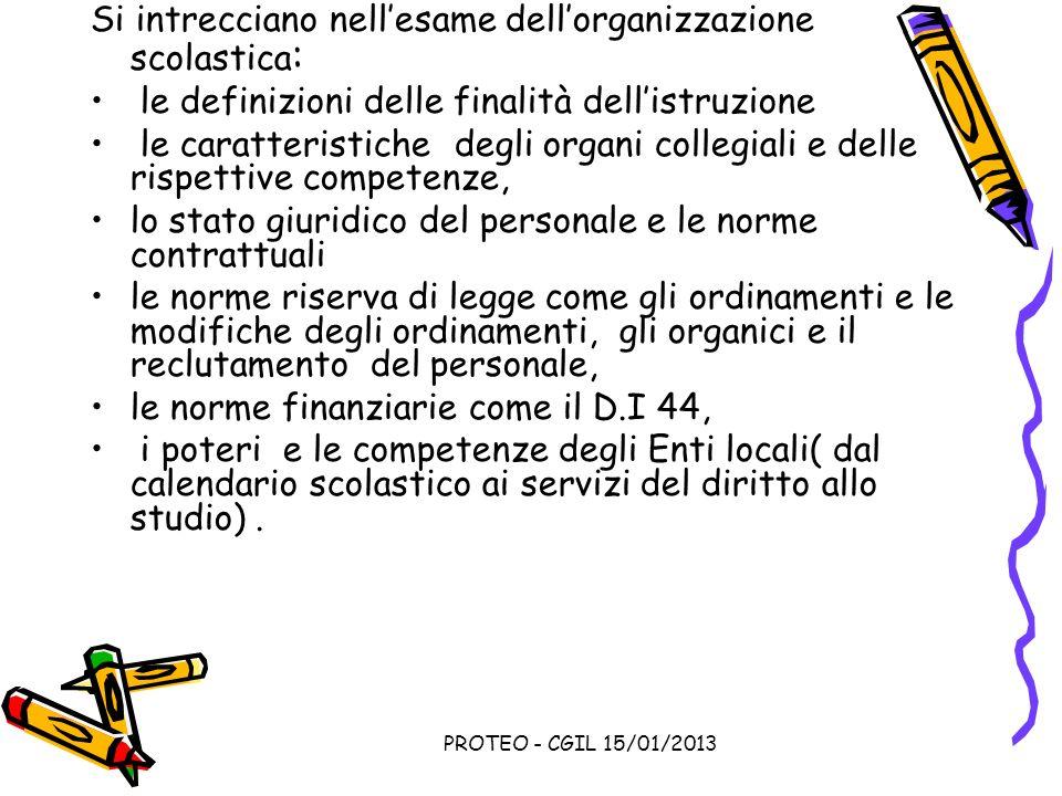 PROTEO - CGIL 15/01/2013 Si intrecciano nellesame dellorganizzazione scolastica : le definizioni delle finalità dellistruzione le caratteristiche degl