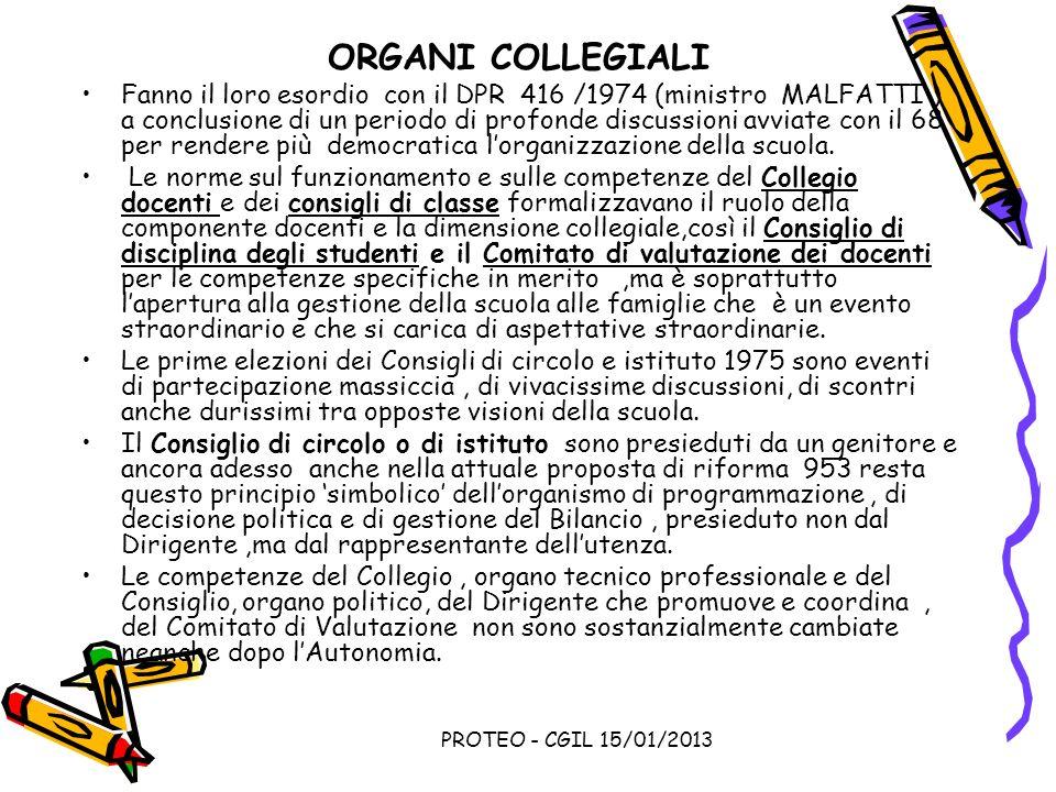 PROTEO - CGIL 15/01/2013 ORGANI COLLEGIALI Fanno il loro esordio con il DPR 416 /1974 (ministro MALFATTI ) a conclusione di un periodo di profonde dis